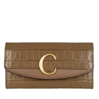 Chloé - Portemonnaie - C Continental Wallet Leather Army Green - in grün - für Damen