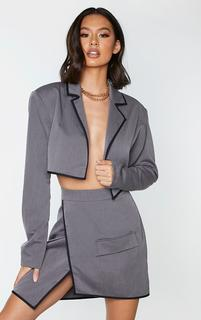 PrettyLittleThing - Charcoal Grey Woven Contrast Binding Oversized Cropped Blazer, Charcoal Grey