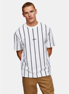 Topman - Mens Signature White Stripe T-Shirt, White