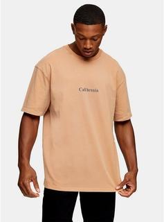 Topman - Mens Brown Camel California T-Shirt, Brown