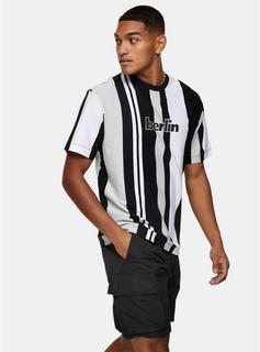 Topman - Mens Berlin Stripe T-Shirt In Black, Black