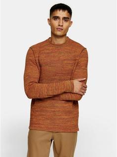 Selected Homme - Mens Selected Homme Orange Organic Cotton Neppy T-Shirt, Orange