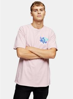 Topman - Mens Pink Together T-Shirt, Pink