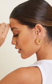 PrettyLittleThing - Gold Ribbed Coil Hoop Earrings, Yellow