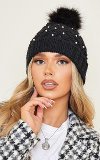 PrettyLittleThing - Black Knit White Pearl Pom Pom Beanie, Black
