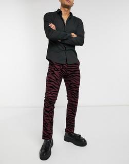 Twisted Tailor - Anzughose mit geflocktem Tigermuster in Burgunderrot