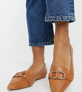 ASOS DESIGN - Wide Fit – Legit – Loafer-Ballerinas in Hellbraun-Bronze