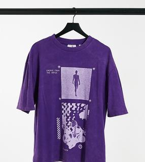 Collusion - Unisex – Oversize-T-Shirt aus Pikee mit Print in violetter Acid-Waschung