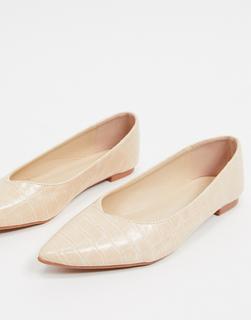 Truffle Collection - Flache, spitz zulaufende Ballerinas in Kroko-beige