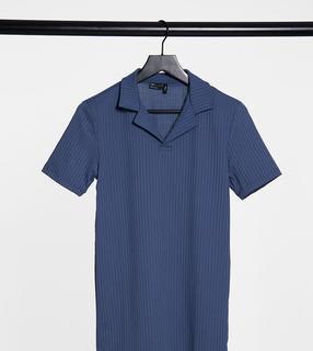 ASOS DESIGN - Tall – Blaues, geripptes Polo-Muskelshirt mit Reverskragen