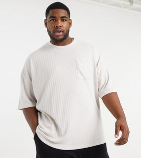 ASOS DESIGN - Plus – Schweres, geripptes Oversize-T-Shirt in Beige