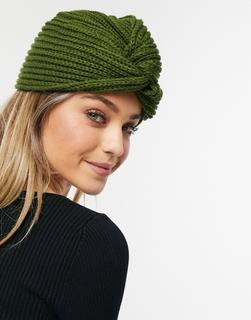 Glamorous - Gerippte Mütze in Khaki mit Wickeldetail-Grün