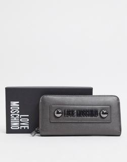Love Moschino - Große, gesteppte Geldbörse in Schwarz