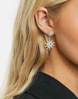 Accessorize - Ohrringe mit Stern-Anhängern in Strass-Silber