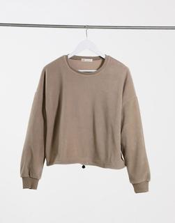 Stradivarius - Fleece-Sweatshirt in Stone-Beige