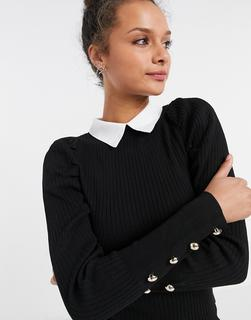 New Look - Gerippter Pullover mit Kragen und Puffärmeln in Schwarz