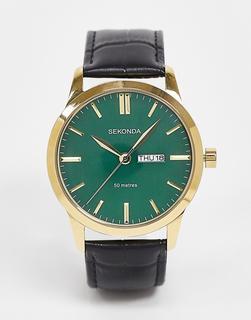 Sekonda - Armbanduhr aus schwarzem Leder mit grünem Zifferblatt