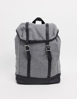 ASOS DESIGN - Rucksack aus Melton in Grau mit farblich abgesetztem Kunstleder-Boden