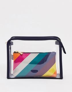 Accessorize - Transparente Kosmetiktasche mit Regenbogen-Täschchen innen-Mehrfarbig