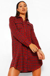 boohoo - Womens Kariertes Hemdkleid Mit Karomuster - Rot - 42, Rot
