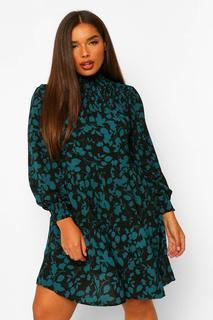 boohoo - Womens Plus Hochgeschlossenes Smok-Kleid Mit Blumenmuster - Petrol - 50, Petrol
