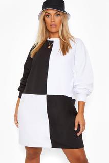 boohoo - Womens Plus Sweat-Kleid Im Colorblock-Design - Schwarz - 48, Schwarz