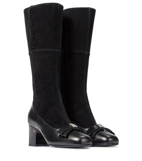 Gucci - Stiefel aus Veloursleder und Leder