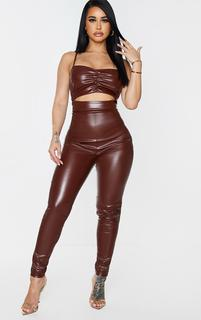 PrettyLittleThing - Shape Chocolate Brown PU Ruched Cut Out Jumpsuit, Chocolate Brown