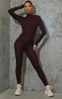 PrettyLittleThing - Chocolate Roll Neck Long Sleeve Jumpsuit, Chocolate