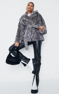 PrettyLittleThing - Grey Snake Print Faux Fur Coat, Grey