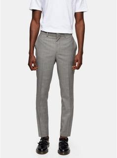 Topman - Mens Mid Grey Grey Skinny Fit Suit Trousers, Mid Grey