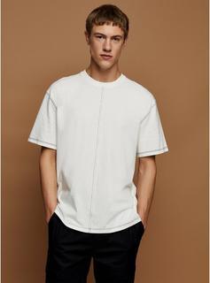 Topman - Mens Cream Ecru Contrast Stitch T-Shirt, Cream