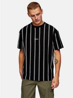 Topman - Mens Signature Black Stripe T-Shirt, Black
