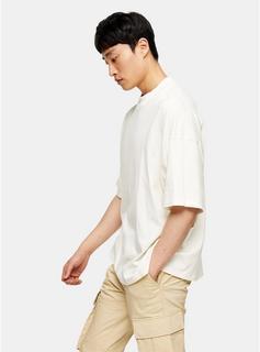 Topman - Mens Cream Ecru Oversized Turtle Neck T-Shirt, Cream