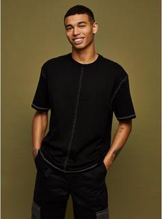 Topman - Mens Black Contrast Stitch T-Shirt, Black
