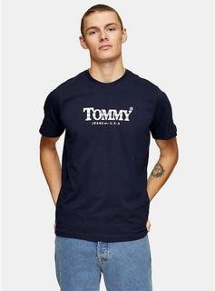 Tommy Jeans - Mens Tommy Jeans Navy Retro Logo T-Shirt, Navy