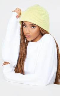 PrettyLittleThing - Lime Knit Beanie, Green