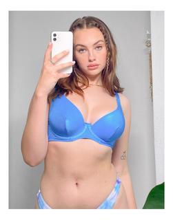 ASOS DESIGN - Größere Brust – Mix & Match – Geripptes, schimmerndes Bikinioberteil mit Unterbrustnaht aus Satin in Kobaltblau
