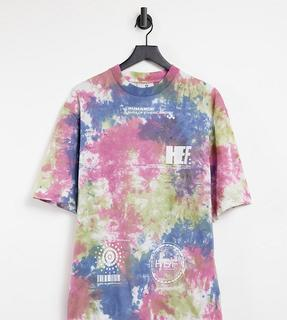 Collusion - Unisex – Oversize-T-Shirt mit Batikmuster und Print-Mehrfarbig