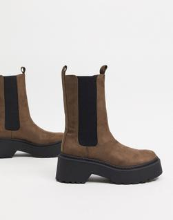 River Island - Hohe Ankle-Boots mit klobiger Sohle in Grau