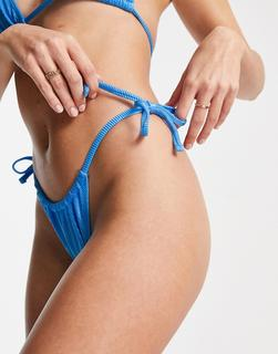 ASOS DESIGN - Mix & Match – Gerippte, schimmernde Bikinihose mit seitlichem Bindeband in Kobaltblau