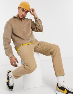 ASOS DESIGN - Hemdjacke aus Cord zum Überziehen in Stone-Beige