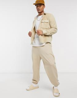 ASOS DESIGN - Hemdjacke aus Fleece in Beige