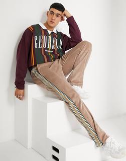 ASOS DESIGN - Langärmliges Polohemd zum Überziehen mit City-Print und extrem weitem Schnitt-Mehrfarbig