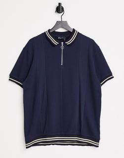 ASOS DESIGN - Polohemd aus strukturiertem Stoff mit halbem Reißverschluss am Halsausschnitt und Kontraststreifen in Marineblau