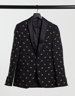 Bolongaro Trevor - Eng geschnittene Anzugjacke mit gesticktem, durchgehendem Bienendesign-Schwarz