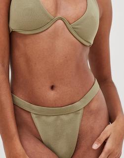 4th + Reckless - Ares – Gerippte Bikinihose mit hohem Beinausschnitt in Khaki-Grün