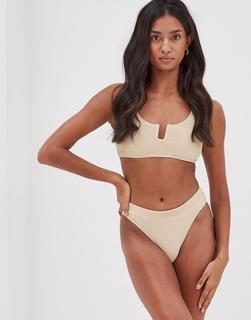 4th + Reckless - Fleur – Strukturiertes, kurz geschnittenes Bikinioberteil mit u-förmiger Einkerbung in Beige