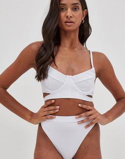 4th + Reckless - Hera – Bikinihose mit Knöpfen, hohem Beinausschnitt und Rippenmuster in Weiß