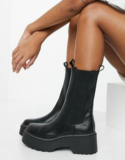 River Island - Hohe Ankle-Boots in Schwarz mit dicker Sohle